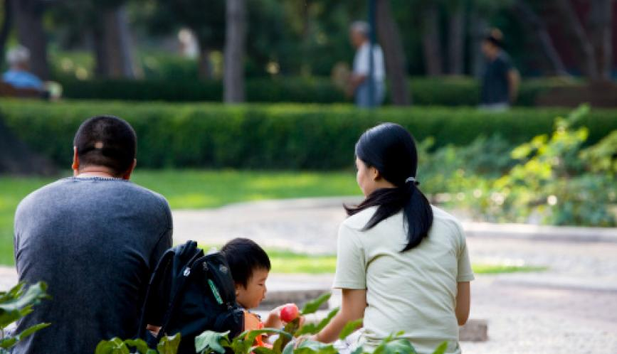 A man, woman, and child sitting outside in a park, seen from behind.