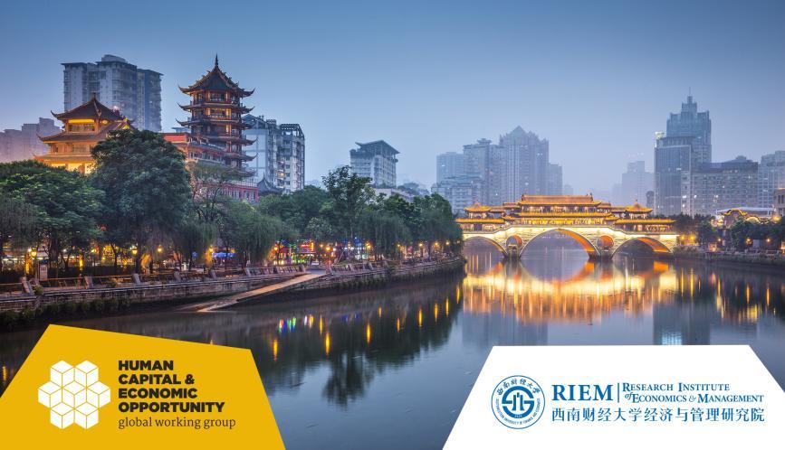 A nighttime view alongside a river of Chengdu.