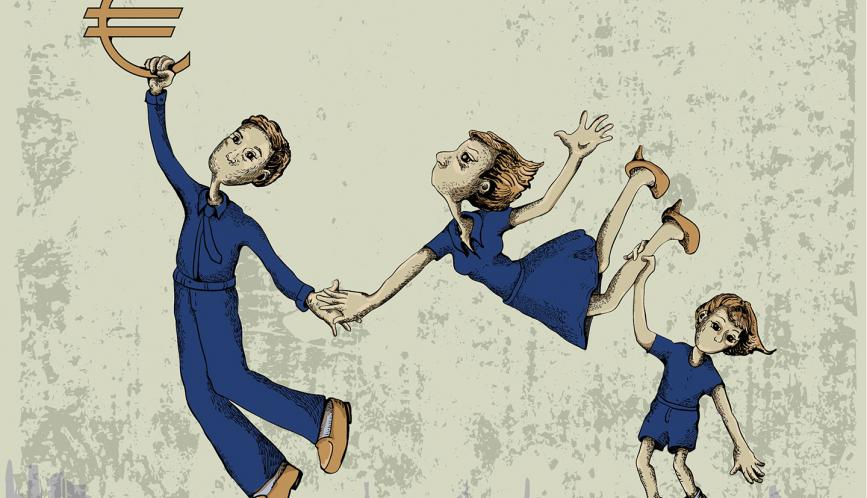 A drawing of three people, dressed in blue uniforms, who appear to be weightless, one of whom is holding on to a gold symbol of the Euro in the upper-left corner.