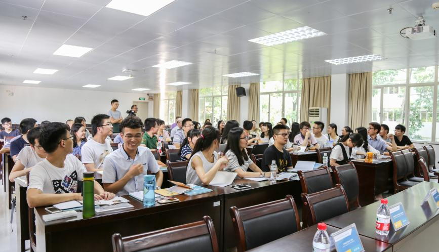 A view of all the students in class, taken from the front of the room.