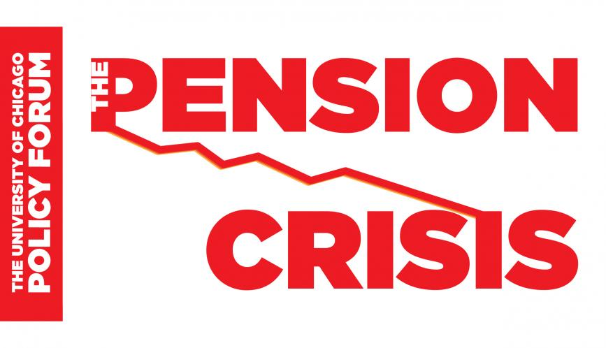"""A text image, showing the words """"Pension Crisis"""" in bold red type, with a descending line graph. cutting through the words"""