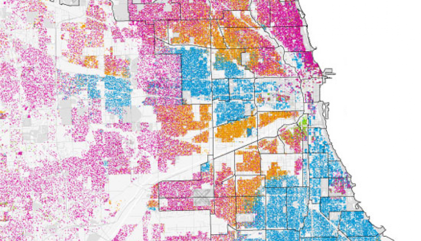 Multi-colored map showing different neighborhoods in Chicago.