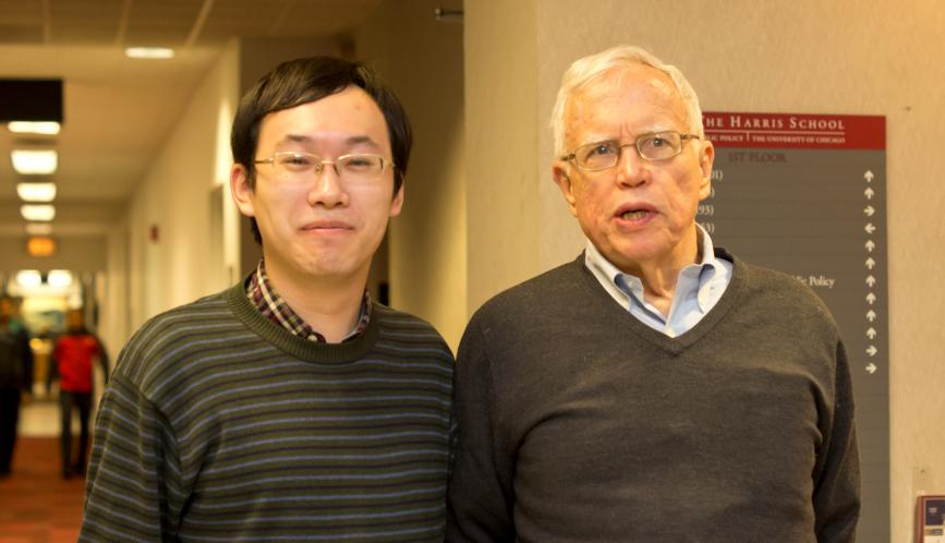 James Heckman and a student