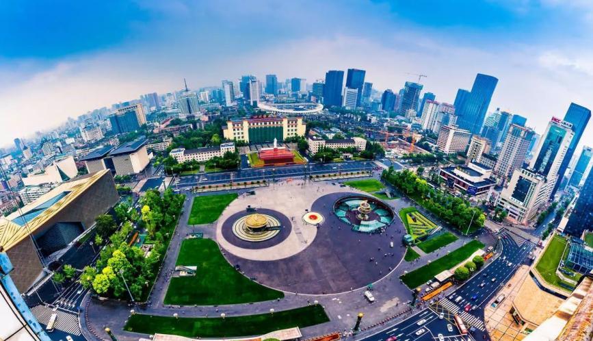 Aerial photo of Tianfu Square in Chengdu, China.