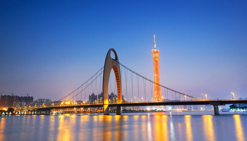 A nighttime view of Liede Bridge of Guangzhou City, Guangdong Province, China.