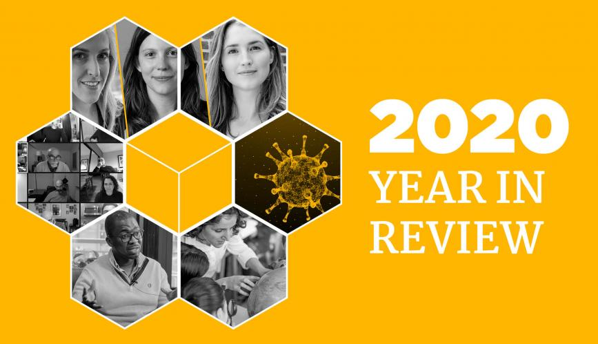 """Graphic reads """"2020 Year in Review"""" with images of researchers"""
