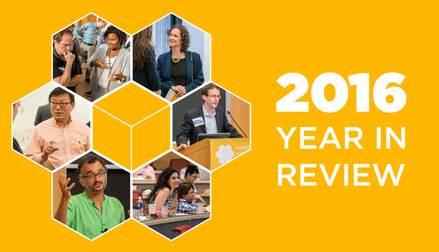 """Graphic reads """"2016 Year in Review"""" with images of researchers."""