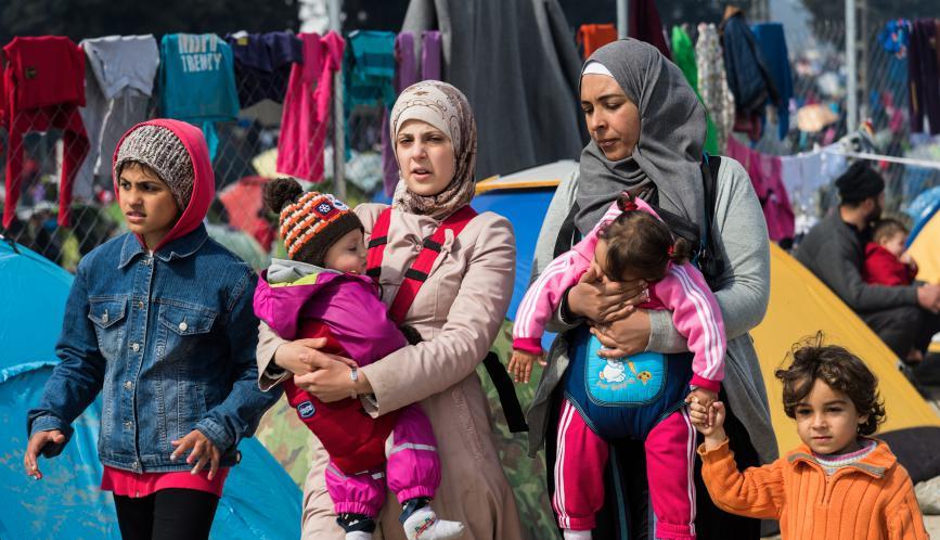 Refugee women with their children