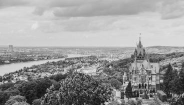 Black and white aerial image of a castle in Bonn, Germany.