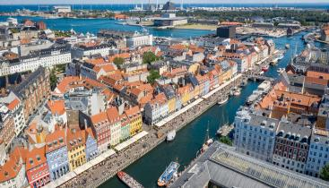 Aerial view of red rooftops and canals in Copenhagen, Denmark