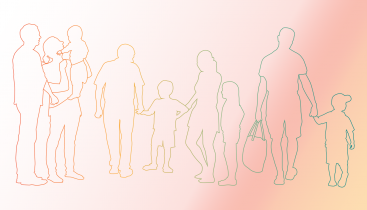 Outlined figures of parents and children.