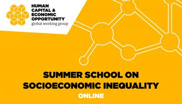 "Graphic main text reads ""Summer School on Economic Inequality Online."" Logo text in corner reads ""Human Capital & Economic Opportunity global working group."""