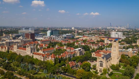 Aerial view of University of Chicago campus.