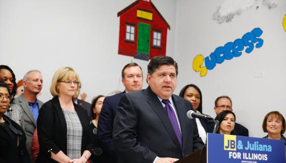 Governor-elect J.B. Pritzker at a press conference.