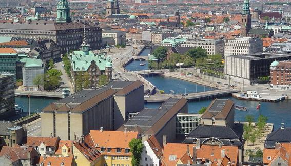 Aerial view of Denmark city.
