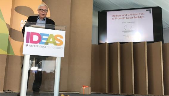 Professor James J. Heckman presenting.