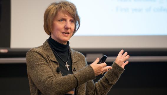 Professor Donna Gilleskie lecturing.